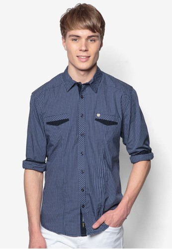 esprit 會員格紋織染長袖襯衫, 服飾, 格紋襯衫