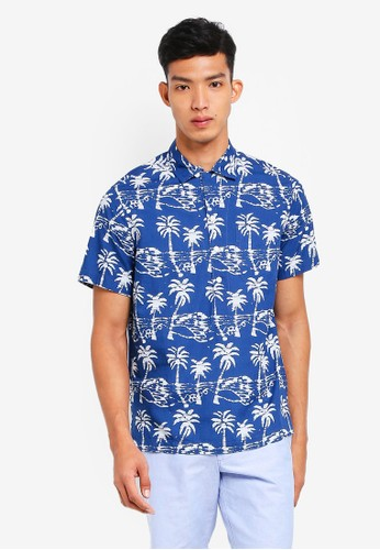 J.Crew blue Short-Sleeve Shirt In Leaf Block Print ADE89AA9DE5AA4GS_1