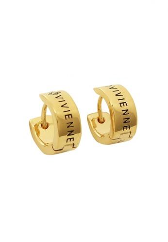 Vivienne Westwood black and gold Vivienne Westwood Kentish Hoop Earrings 401E5AC7B1BAFFGS_1