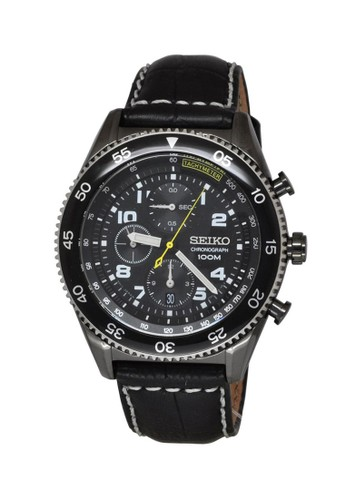 Seiko black Seiko Jam Tangan Pria - Black - Leather Strap - SNDG61P1 Chronograph SE382AC0V6G0ID_1