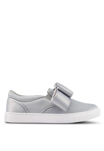 Velvet grey Big Bow Detailed Slip Ons B9ECFSH9AF59C1GS_1