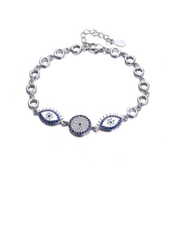 Glamorousky blue 925 Sterling Silver Elegant Fashion Eye Shape Bracelet with Cubic Zircon DE953ACAB5DFA0GS_1