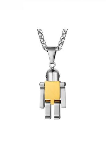 HAPPY FRIDAYS gold Stylish Robot Pendant Necklace JW QF-DZ191 FA3AEAC326B613GS_1