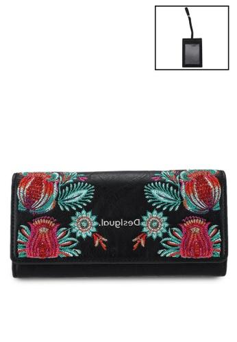 Desigual black Embroidery Detail Long Wallet A9186AC0009008GS_1