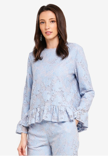 Zalia blue Frill Details Lace Top A5675AA14E3350GS_1