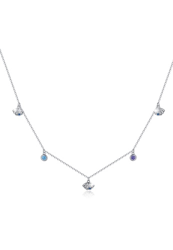 925 Signature silver 925 SIGNATURE Solid 925 Sterling Silver Cubic Zirconia Multicolour Crystals and Seashells Necklace 341ADAC007AB43GS_1
