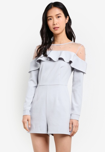 ZALORA blue Studio Pearl Embellished Playsuit 55CE7AA7FEEF3AGS_1