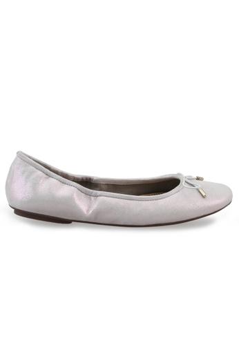Shu Talk purple Metallic Sheepskin Suede With Ribbon Buckle Round Toe Ballet Flats SH617SH2USDAHK_1