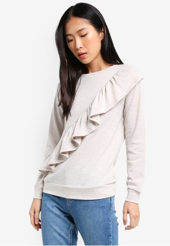 Dorothy Perkins beige Frill Front Sweat DO816AA0RY1UMY_1
