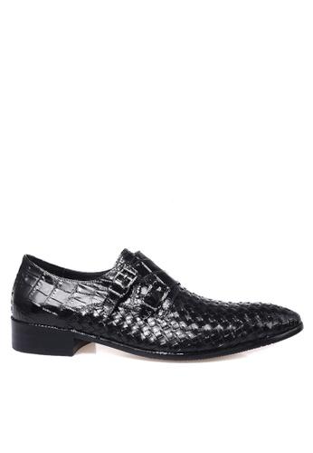 Twenty Eight Shoes black Braided Crocodile Pattern Cowhide Double Monk Strap Shoes VMF2001 7C988SHFCC006FGS_1
