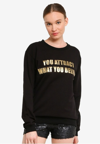 FK by Farah Khan black YOU ATTRACT WHAT YOU BELIEVE Printed Sweatshirt AFD5EAA3F1B717GS_1