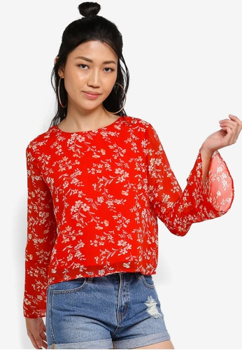Something Borrowed red Flare Sleeves Boxy Top 51C76AA19D28B7GS_1