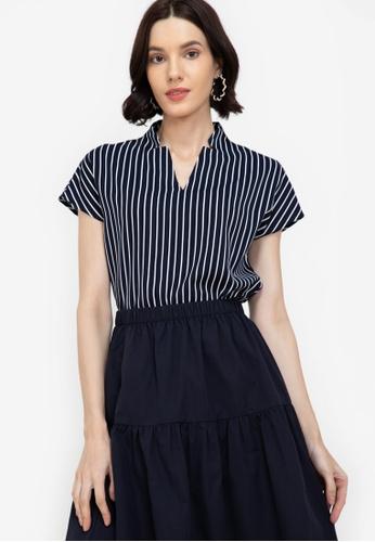 ZALORA WORK multi Mandarin Collar Stripes Blocking Shirt 926BBAADD6C587GS_1