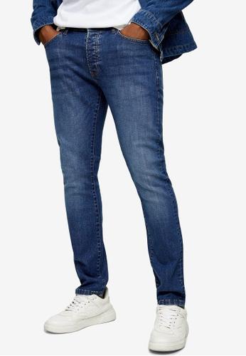 Topman blue Mid Wash Slim Jeans A1F5AAA7E4FEADGS_1