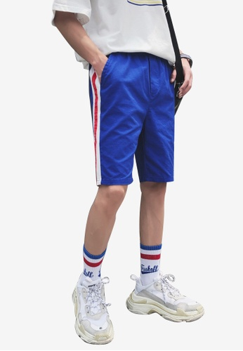 hk-ehunter blue Men Elastic Waist Shorts 3CAF9AA12276CCGS_1