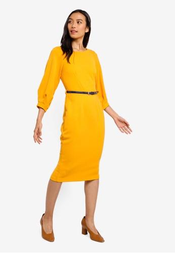 CLOSET yellow Closet Pleated Sleeve Pencil Dress B6280AA44B2098GS_1