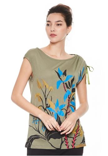 Sisley green Printed T-shirt 11B5FAAD54FBFCGS_1