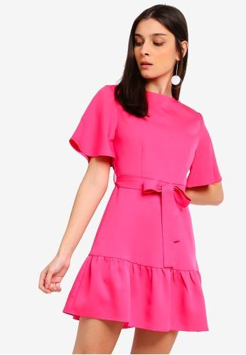 ZALORA pink Ruffles Hem Fit And Flare Dress 54338AAA903B1DGS_1