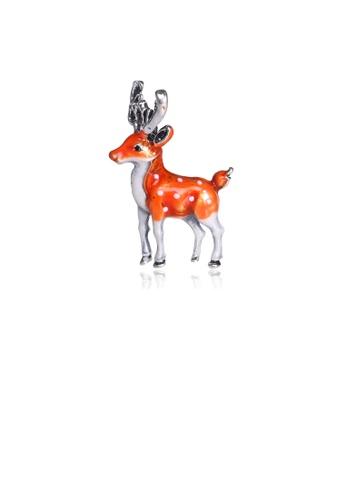 Glamorousky silver Simple and Cute Orange Sika Deer Brooch 07998AC4E92E74GS_1