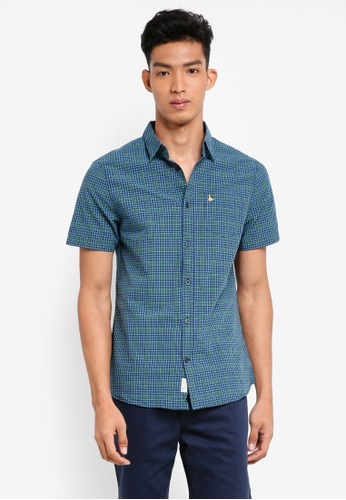 Jack Wills green and navy Woodham Seersucker Short Sleeve Shirt CA827AA22AE08DGS_1