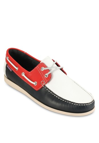 撞色皮尖沙咀 esprit革船型鞋, 鞋, 鞋