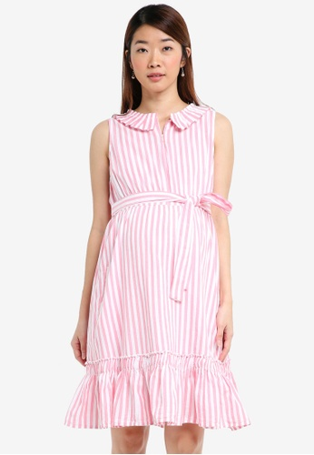 Mama.licious white and pink Maternity Flora Lia Woven Dress Nursing 5FA6FAAF417F28GS_1