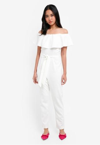 3d8f47189f78 Buy Miss Selfridge White Bardot Frill Jumpsuit Online on ZALORA Singapore