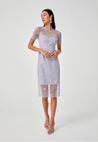 Love, Bonito purple Alisha Lace Overlay Pencil Dress 3879DAAA13291AGS_1