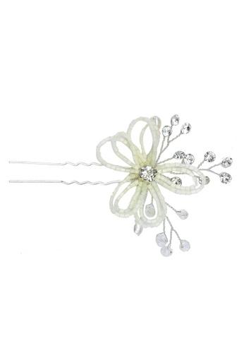 Saturation white Flower Bead Hair Fork 1F80AAC9B7B629GS_1