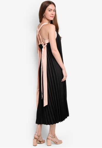 Megane black Gallia Pleated Maxi Dress ME617AA0RR2OMY_1