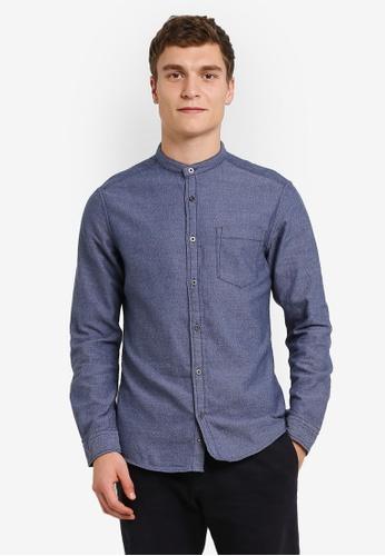 ESPRIT 海軍藍色 Woven Long Sleeve Shirt ES374AA0RXWVMY_1