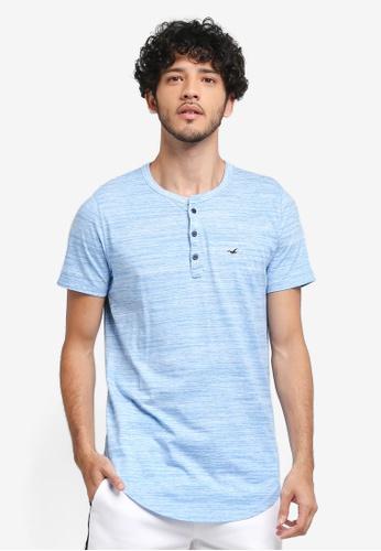 Hollister blue Henley T-Shirt F7A3DAA50F88C4GS_1