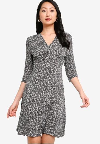 ZALORA BASICS black and multi Long Sleeve Mini Tea Dress A2D86AAB0776AFGS_1