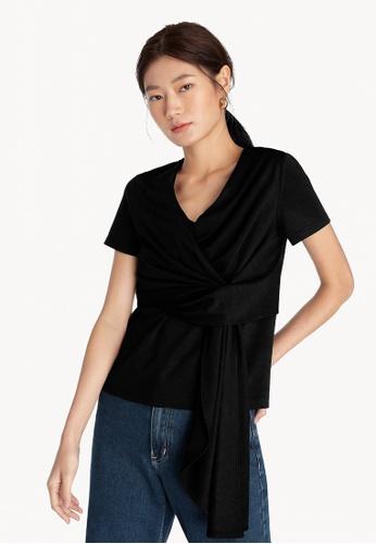Pomelo black Tie Front Top - Black 9F4B7AA426EC3EGS_1