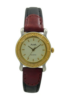 Image of ALBA Jam Tangan Wanita - Black Silver Gold - Leather Strap - ATCS26