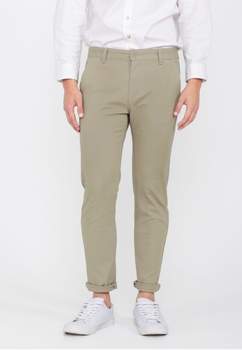 A for Arcade grey and beige Skinny-Fit Twill Trousers in Sand B39E4AA491A7A5GS_1