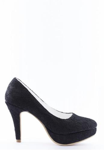 Kings Collection 黑色 花邊高跟鞋 KI513SH38UCRTW_1