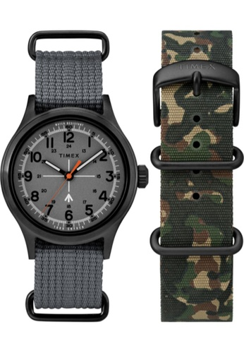 TIMEX black and grey and green Timex x Todd Snyder Military 40mm - Black Case, Gray Fabric Strap (TWG017700) 760A5ACA7961A4GS_1