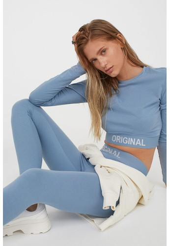 H&M blue Text-motif leggings 09807AA0F32833GS_1