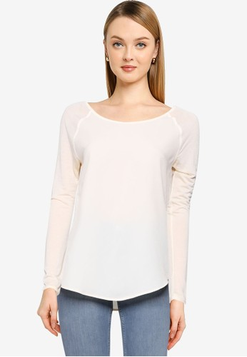 French Connection beige Polly Plains Long Sleeve Top A0B7BAA539D051GS_1
