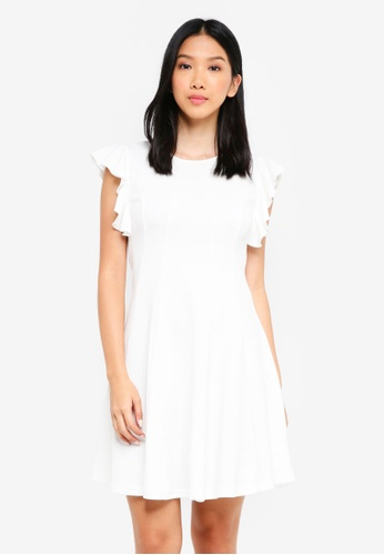 ZALORA white Ruffle Sleeve Belted Fit And Flare Dress 2BEF1AA0E39CCDGS_1