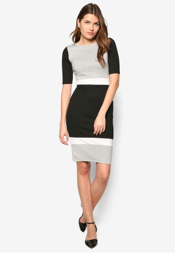 Grey And Black Colour Block Tube Dress,zalora 心得 服飾, 正式洋裝