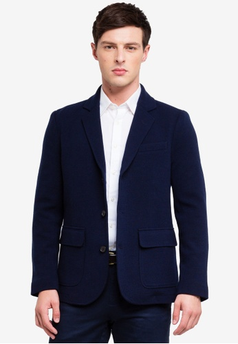 Brooks Brothers 海軍藍色 針織西裝外套 51A26AAE831C7FGS_1