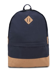 Faux-Suede Paneled Nylon Backpack