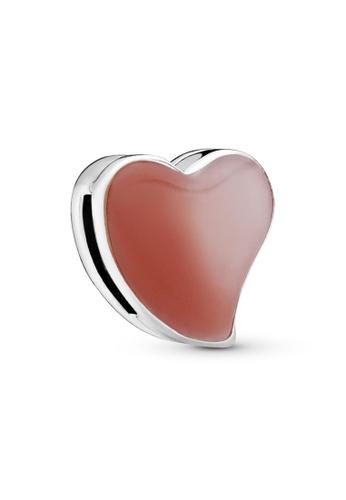 PANDORA silver Pandora Asymmetrical Heart Clip Charm 05D02ACAD9ED8DGS_1