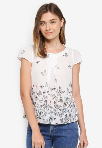 Dorothy Perkins white Petite White Butterfly Shell Top 4D504AA0B938BFGS_1