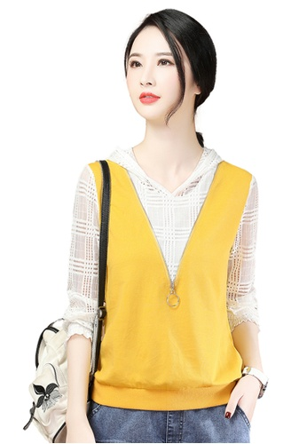 A-IN GIRLS white and yellow Lace Stitching Hooded Sweatshirt T-Shirt 07848AA0BBB404GS_1