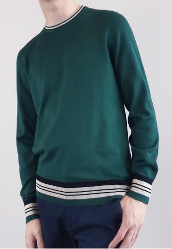 SUB green Men Sweater With Contrast Trims 0005BAA60EBF77GS_1