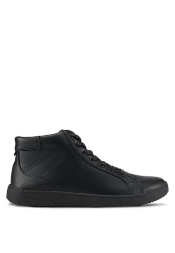 ZALORA black Faux Leather High Top Sneakers 8CDFASHBE0752BGS_1