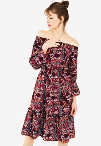 Sunnydaysweety multi Folk Style Off Shoulder One Piece Dress 2C963AA1B9FBAEGS_1